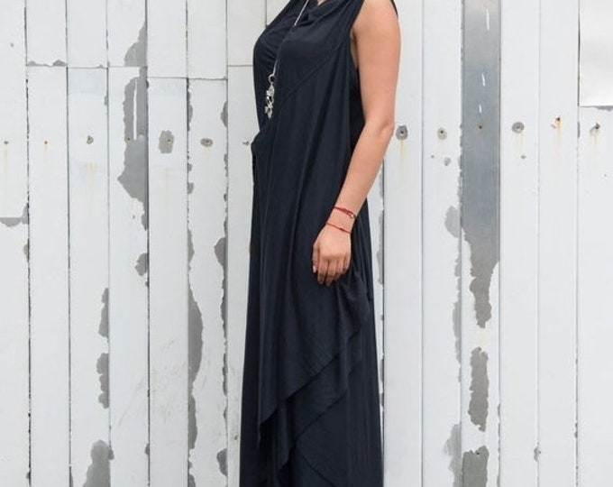 SALE Maxi Black Dress / Draped Belted Dress / Oversize Long Tunic / Loose Casual Sleeveless Dress / Elegant Evening Formal Dress by METAMORP