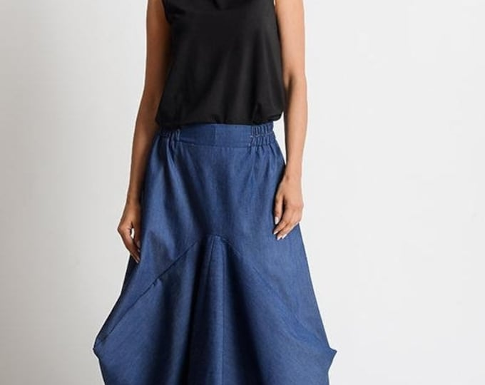 SALE Asymmetric Denim Skirt/Extravagant Loose Skirt/Blue Jean Maxi Skirt/Long Loose Skirt/Oversize Asymmetric Skirt/Elastic Waist Denim Skir