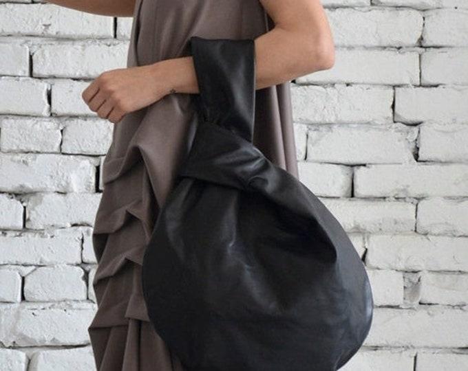 SALE Black Circle Bag/Modern Leather Bag/Extravagant Genuine Leather Tote/Small Black Clutch/Casual Black Leather Handbag/Mini Tote Bag/Clut