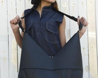 SALE Black Leather Bag / Shoulder Woman Bag / Zipper Bag / Triangle Bag / Asymmetrical Large Bag by METAMORPHOZA
