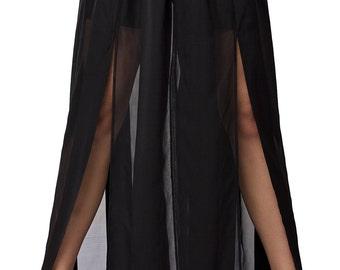 Black Maxi Skirt / Sheer Long Skirt / Party Skirt with Shorts
