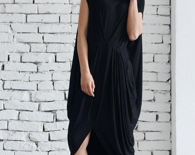 SALE Black Sleeveless Loose Dress/Oversize Black Tunic Top/Everyday Casual Dress/Asymmetric Kaftan/Maxi Black Dress/Plus Size Long Top