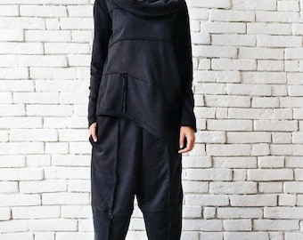 SALE Black Loose Set/Asymmetric Maxi Set/Everyday Tracksuit/Loose Black Tunic/Black Maxi Pants/Black Capris/Long Sleeve Tunic/Wide Leg Pants