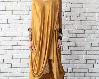 7a073eacdfd SALE Mustard Loose Tunic/Extravagant Short Dress/Loose Casual Long Top/Comfortable  Day Dress/Yellow Maxi Dress/Sleeveless Casual Asymmetric