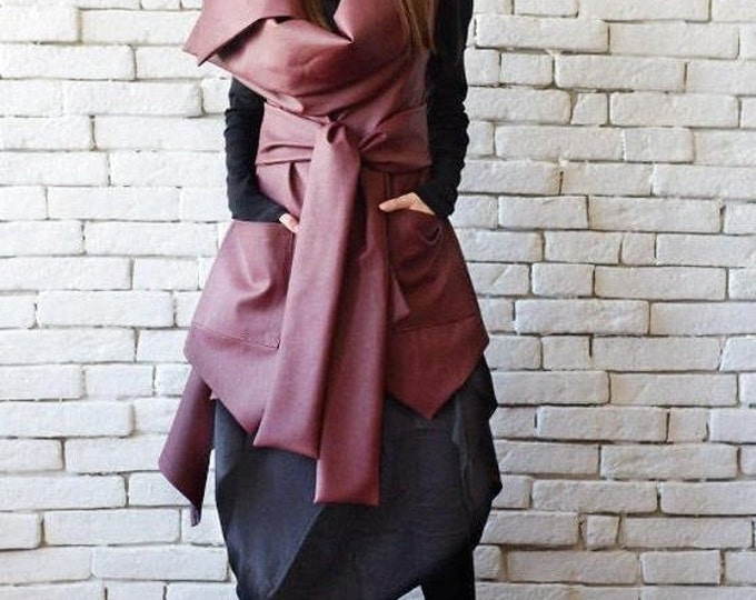 SALE Asymmetric Burgundy Vest/Sleeveless Leather Coat/Extravagant Tunic Top/Loose Dark Red Leather Vest/Large Collar Leather Tunic/Wine Long