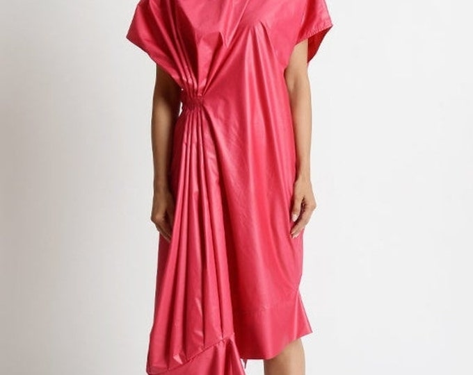 SALE Fuchsia Asymmetric Dress/Loose Long Short Dress/Extravagant Tunic Dress/Maxi Dress/Cap Sleeve Dress/High Low Dress/Fuchsia Oversize Top