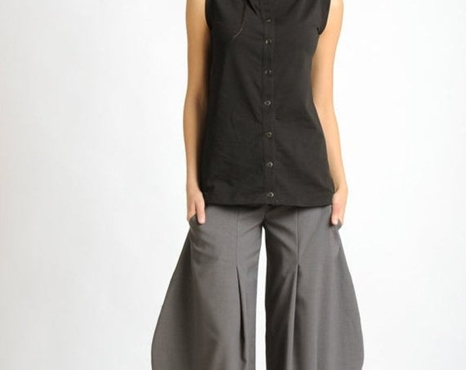 SALE NEW Grey Oversize Trousers/Wide Loose Pants/Long Grey Pants/Plus Size Pants/Casual Ankle Pants/Wide Leg Trousers/Extravagant Loose Pant