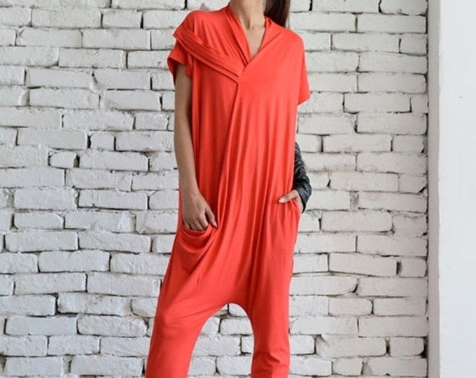 SALE Red Casual Jumpsuit/Oversize Summer Suit/Short Sleeve Loose Tunic/Red Harem Pants/Loose Jumpsuit/Plus Size Red Overall/Maxi Onepiece