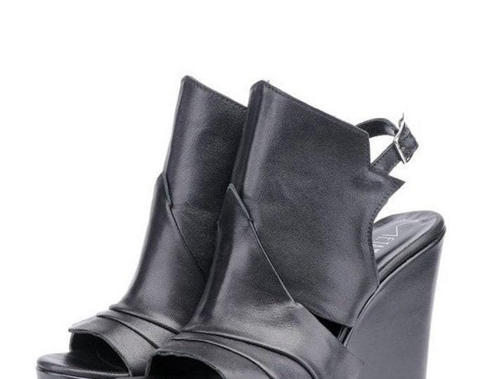 SALE NEW Extravagant Black Leather Sandals/Genuine Leather Summer Heels/Black Leather Shoes/Leather Wedges/Black High Heels/Platform Shoes
