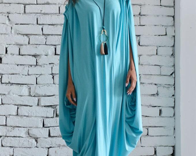 Blue Mint Dress/Blue Maxi Dress/Extravagant Blue Dress/Blue Long Dress/Casual Asymmetrical Dress/Asymmetric Blue Dress/Oversize Tunic Top