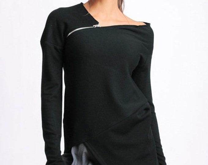 SALE Black Asymmetric Tunic/Long Sleeve Zipper Top/Extravagant Casual Black Top/Long Extravagant Loose Blouse/Open Shoulder Black Tunic