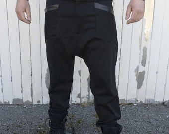 SALE Black Pants for Men / Drop Croth Pants / Loose Harem Pants / Urban Style Pants / Long Pants / Plus Size Available - XXL, XXXL, Xxxxl