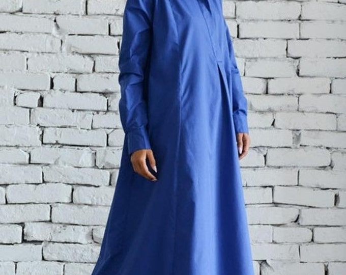 SALE Blue Maxi Dress/Plus Size Kaftan/Extravagant Shirt Dress/Oversize Loose Dress/Blue Kaftan/Long Casual Dress/Plus Size Maxi Dress/Work D