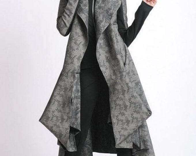 SALE Extravagant Pattern Coat/Asymmetric Oversize Tunic/Long Sleeve Elegant Coat/Loose Casual Jacket/Asymmetric Coat/Long Comfortable Coat