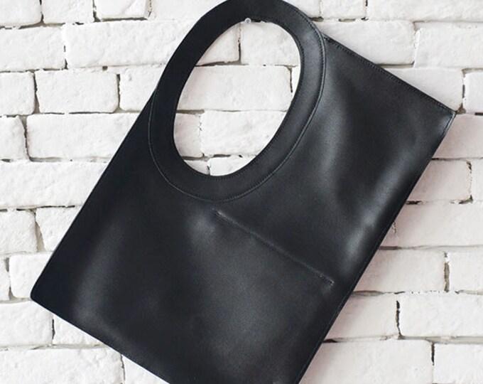 Black Maxi Bag/Extravagant Casual Leather Bag/Large Tote Bag/Genuine Leather Shoulder Bag/Black Clutch/Square Handbag/Circle Handle Bag