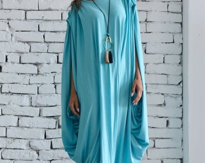 SALE Blue Mint Dress/Blue Maxi Dress/Extravagant Blue Dress/Blue Long Dress/Casual Asymmetrical Dress/Asymmetric Blue Dress/Oversize Tunic T