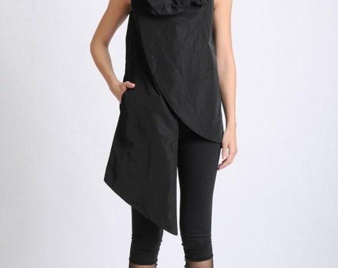SALE NEW Black Asymmetric Vest/Oversize Collar Shirt/Sleeveless Extravagant Tunic/Long Black Top/Modern Casual Long Top/Black Tunic with Poc