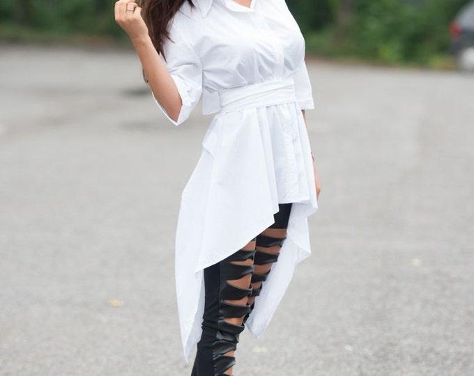 White Asymmetric Cotton Shirt / Long Sheer Tunic / V Shaped Cutout Back Top by METAMORPHOZA