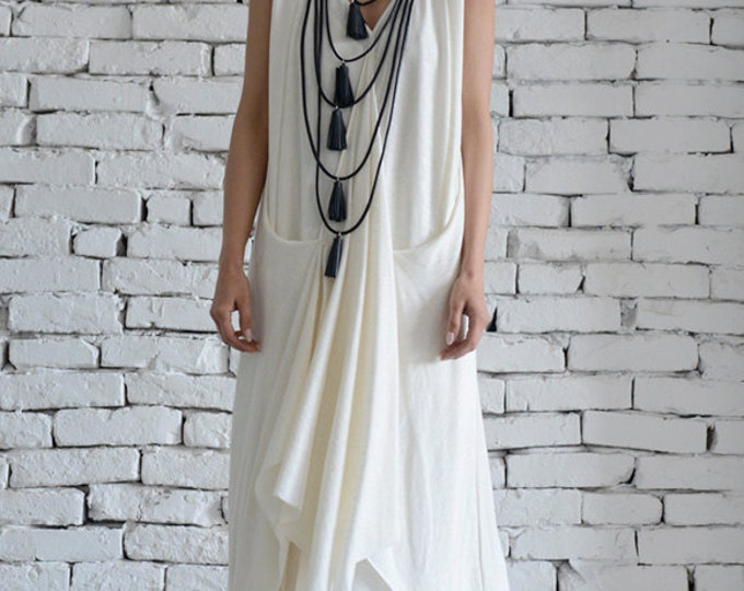 White Long Dress/Asymmetric Maxi Dress/Sleeveless Loose Kaftan/Casual White Dress/Summer Oversize Tunic/Plus Size Dress by METAMORPHOZA