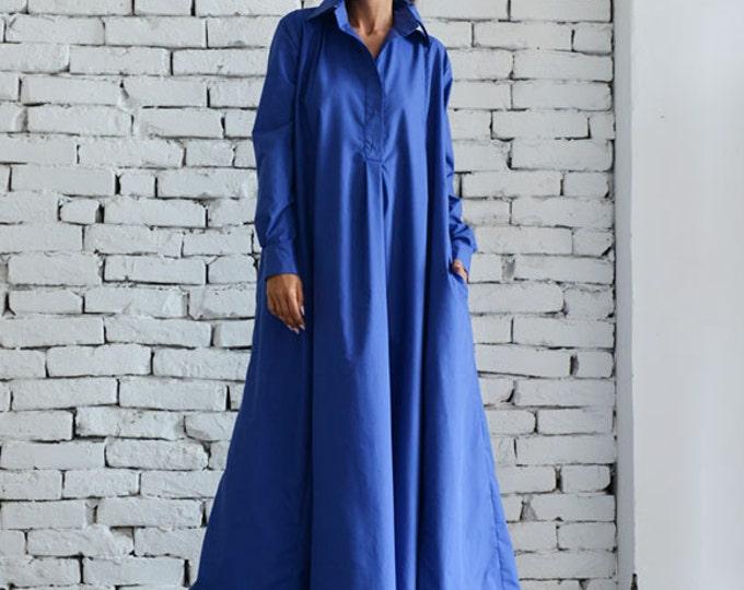 Blue Maxi Dress/Plus Size Kaftan/Long Sleeve Casual Dress/Oversize Shirt Dress/Blue Loose Tunic Dress/Evening Blue Dress by METAMORPHOZA
