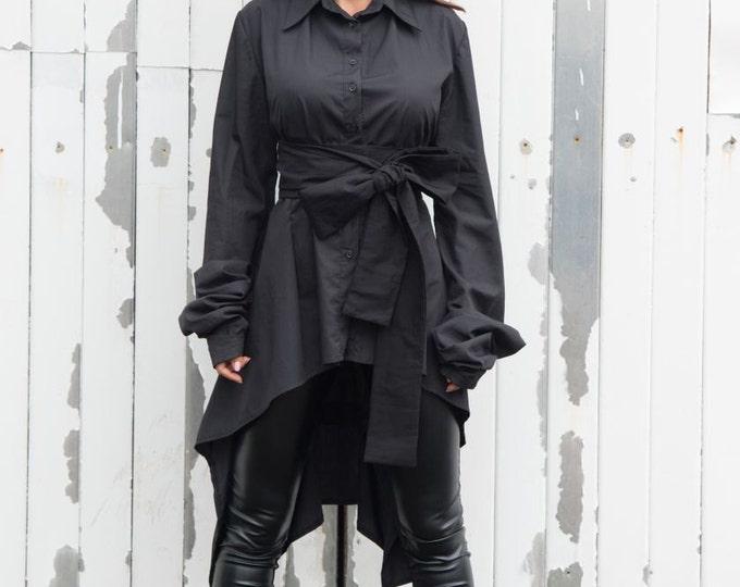 Long Black Shirt / Cut Out Back Shirt / Asymmetric Black Tunic - XXL, XXXL, XXXXL Available