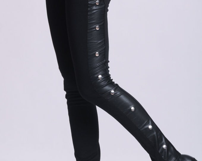 NEW Black Tight Pants/Extravagant Studded Leggings/Slim Fit Black Pants/Leather Pants/Zipper Pants/Long Tight Fitting Pants/Casual Leggings