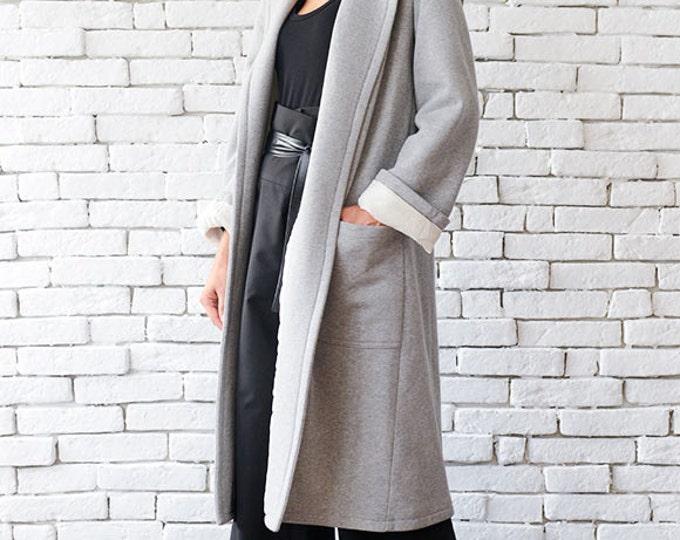 Grey Maxi Coat / Long Loose Jacket / Casual Pocket Coat / Folded Sleeve Plus Size Cardigan by METAMORPHOZA