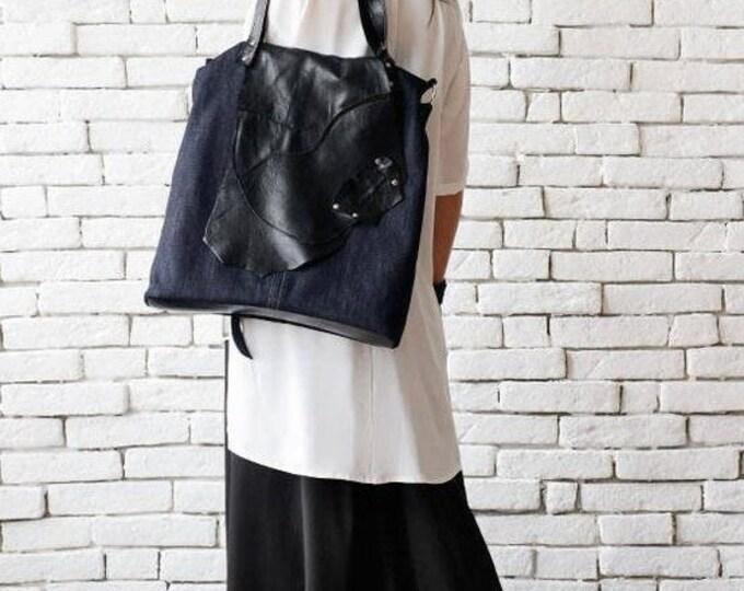 Everyday Denim and Genuine Leather Bag/Extravagant Tote/Multi Color Shoulder Bag/Denim Purse/Black Leather Maxi Bag/Large Cross Body Ba
