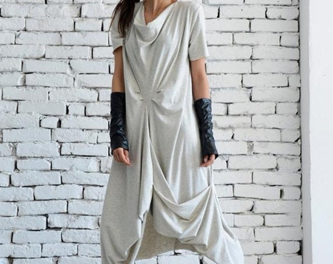 SALE Light Grey Casual Dress/Asymmetric Loose Tunic/Short Sleeve Long Top/Grey Maxi Dress/Oversize Kaftan/Plus Size Every Day Dress/Casual T