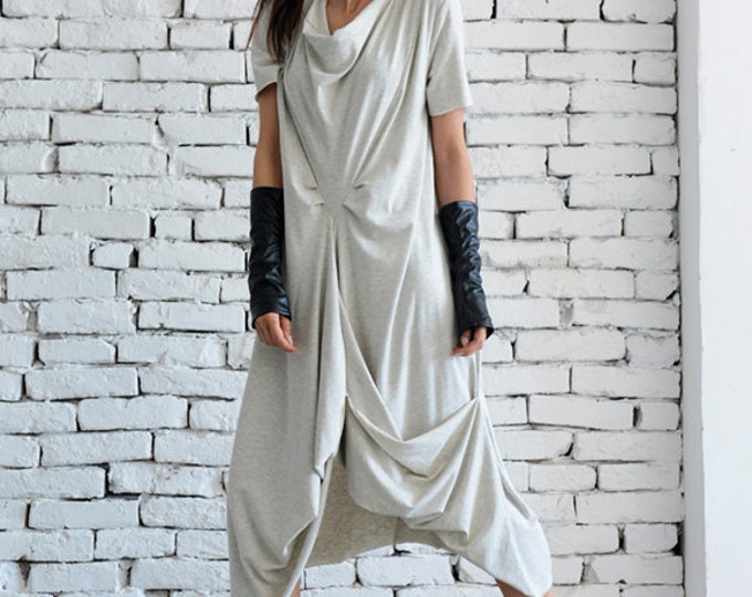 Light Grey Casual Dress/Asymmetric Loose Tunic/Short Sleeve Long Top/Grey Maxi Dress/Oversize Kaftan/Plus Size Every Day Dress/Casual Tunic
