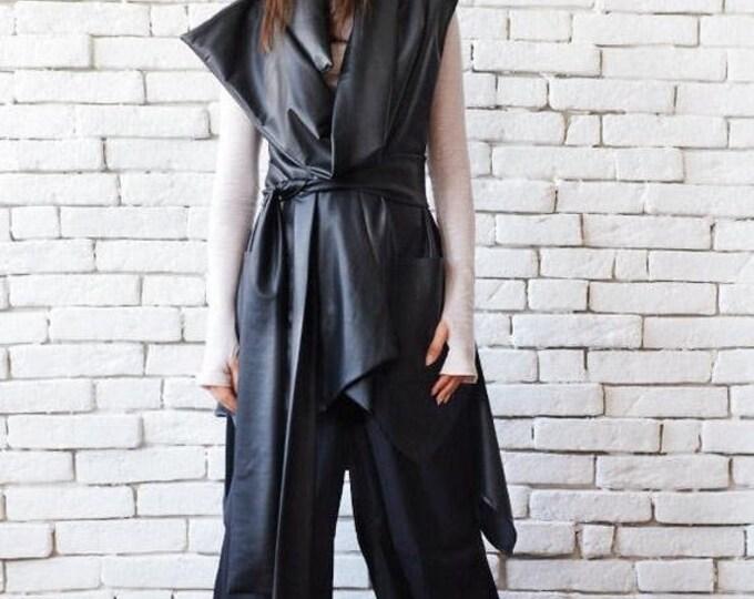 SALE Black Leather Sleeveless Jacket/Asymmetric Extravagant Vest with Belt/Loose Tunic Top/Leather Long Short Tunic/Large Collar Black Coat