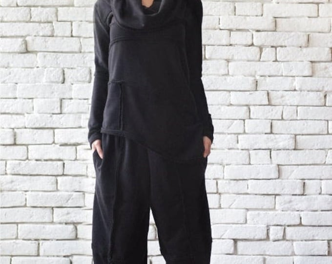 SALE Black Sports Set/Casual Black Tracksuit/Loose Tunic Top/Plus Size Black Pants/Everyday Casual Set/Wide Leg Trousers/Black Long Sleeve T