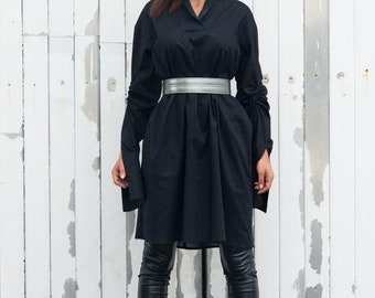 SALE Oversize Black Shirt / Cotton Shirt / Black Tunic / Long Sleeve Top / Belted Shirt by METAMORPHOZA
