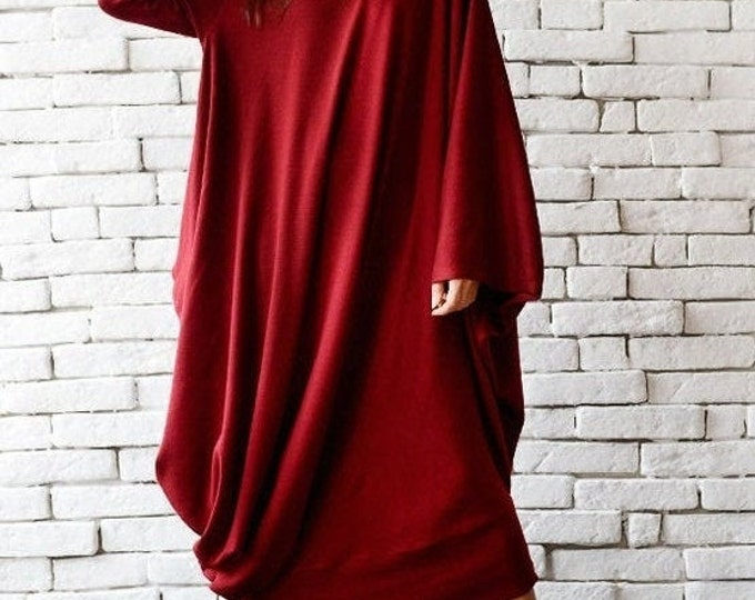 SALE Red Maxi Dress/Loose Kaftan/Comfortable Dress/Oversize Tunic Dress/Red Long Dress/Long Sleeve Casual Dress/Winter Dress/Red Plus Size D