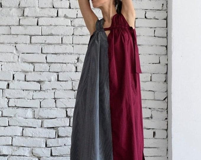 SALE Long Maxi Dress/Grey and Burgundy Oversize Kaftan/Sleeveless Pocket Dress/Red Caftan Dress/Plus Size Casual Dress/Oversize Tunic Dress