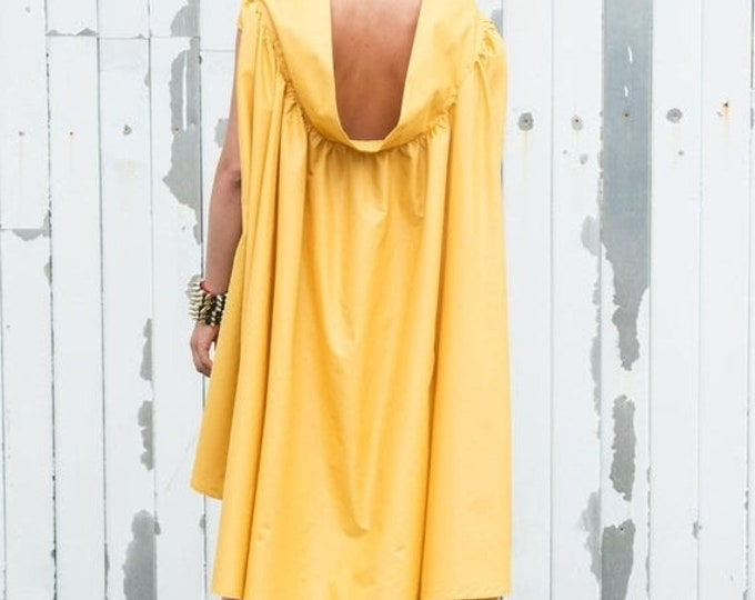 SALE Yellow Maxi Dress/Asymmetric Summer Dress/Mustard Casual Dress/Long Tunic Dress/Maxi Dress/Oversize Tunic Top/Loose Short Dress/Casual