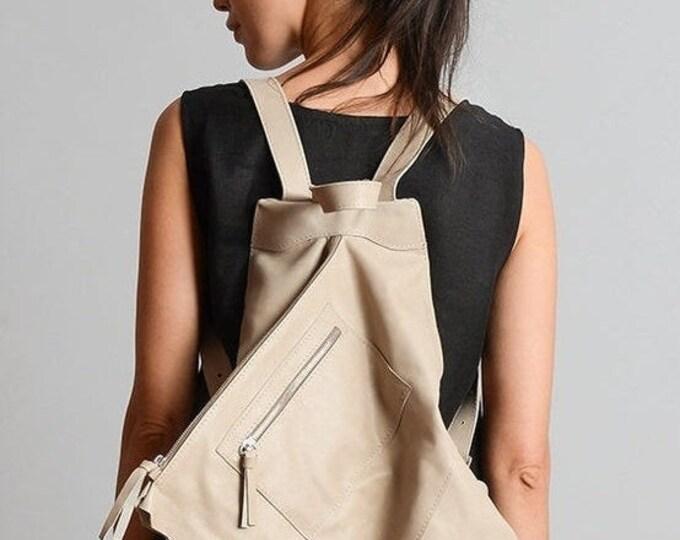 SALE Beige Extravagant Backpack/Genuine Leather Bag/Everyday Beige Rucksack/Handmade Leather Satchel/Asymmetric Leather Handbag/Beige Tote