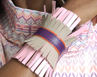 LIMITED EDITION Extravagant Fringe Bracelet/Genuine Leather Cuff/Snap Buttons Bracelet/Leather Hand Accessory/Colorful Bracelet with Fringes