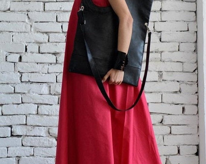 SALE Black Maxi Bag/Extravagant Circle Tote/Genuine leather Black Bag/Large Shoulder Bag/ Open Front Leather Clutch/Black Leather Large Tote
