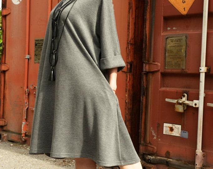 Loose Maxi Dress/Knee Length Grey Dress/Oversize Tunic Top/Plus Size Pocket Dress/Plus Size Maxi Dress/Grey Kaftan/Everyday Casual Dress