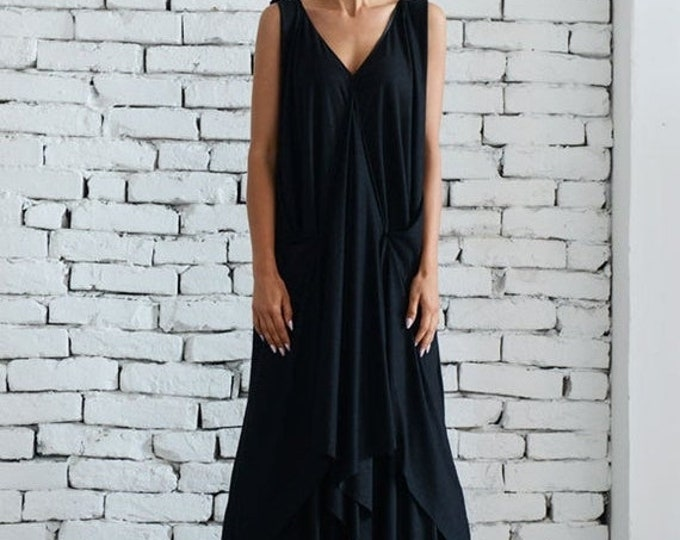 SALE Maxi Black Dress/Plus Size Dress/Casual Summer Dress/Asymmetric Long Tunic/Oversize Tunic Dress/Plus Size Maxi Dress by METAMORPHOZA