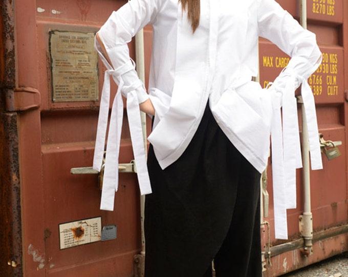 Asymmetric Shirt / Extravagant White Top / Tunic with Long Ribbons / Loose Top by METAMORPHOZA