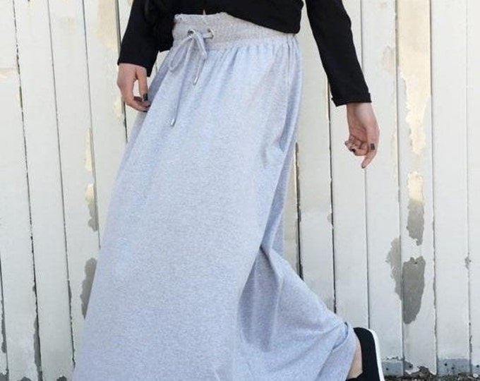 SALE Loose Grey Skirt / Long Skirt / Casual Skirt / Skirt with Pockets / Grey Maxi Skirt / Plus Size Skirt / Oversize Grey Skirt by METAMORP
