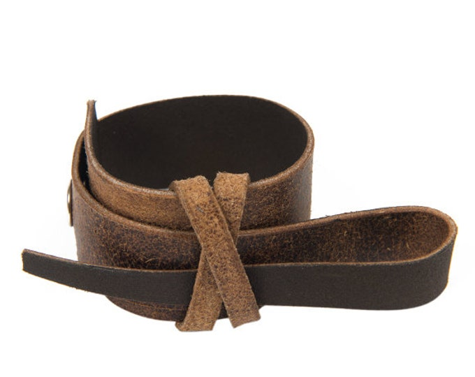 Brown Leather Bracelet/Genuine Leather Handmade Accessory/Extravagant Wrist Band/Brown Leather Wrap Bracelet/Leather Wide Bracelet