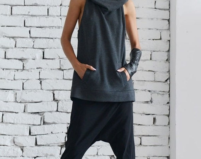 SALE Dark Grey Hooded Top/Extravagant Summer Vest/Casual Tunic with Hood/Grey Loose Top/Sleeveless Hoodie/Large Hood Tunic Top/Sexy Naked To