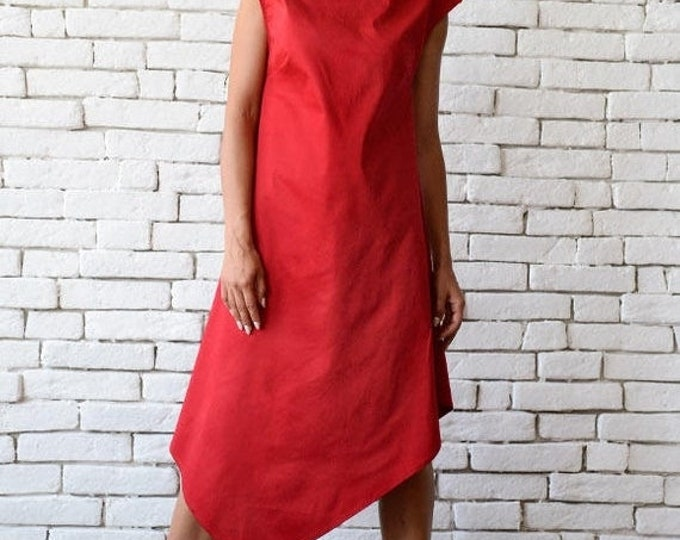 SALE Red Asymmetric Dress/Long Short Tunic Top/Casual Summer Dress/Plus Size Dress/Red Long Tunic Top/Oversize Loose Dress/Sleeveless Dress