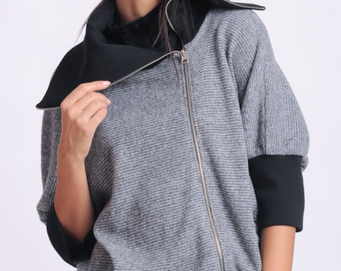 NEW Grey and Black Jacket/Oversize Collar Coat/Loose Zipper Coat/Extravagant Cardigan/Long Sleeve Warm Jacket/Fall Jacket/Two Color Coat