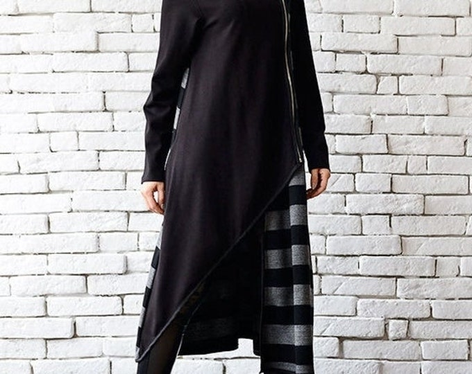 SALE Extravagant Black Coat/Stripe Long Cardigan/Grey and Black Loose Coat/Oversize Zipper Jacket/Long Warm Coat/Asymmetric Loose Jacket