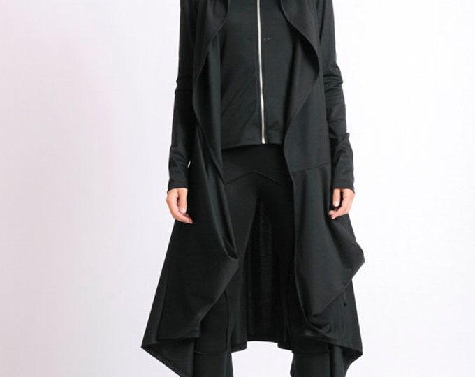 Black Asymmetric Coat/Extravagant Loose Jacket/Black Oversize Tunic/Long Sleeve Cardigan/Black Zipper Jacket/Loose Asymmetric Black Top