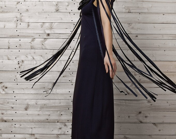 Maxi Blue Dress / Navy Dress with Fringing / Long Elegant Dress / Kaftan / Plus Size Dress / Gentle Evening Extravagant Gown by METAMORPHOZA